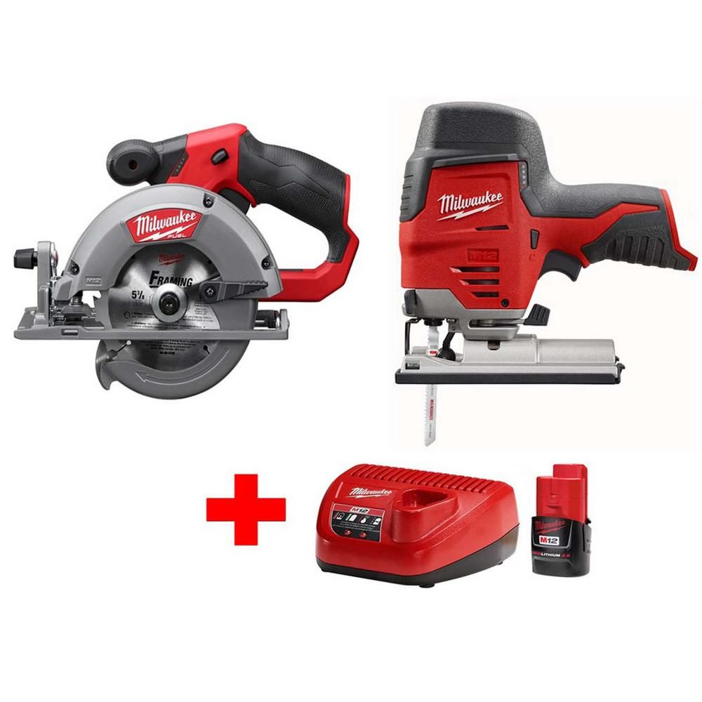 Milwaukee M12 12 Volt Lithium Ion Cordless Jig Saw And 5 3 8 In Circular Saw Combo Kit W 1 2 0ah Battery And Charger 2445 20 2530 20 48 59 2420 Milwaukee M12 Milwaukee Tools Circular Saw