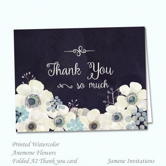 Watercolor anemone flowers wedding thank you folded card