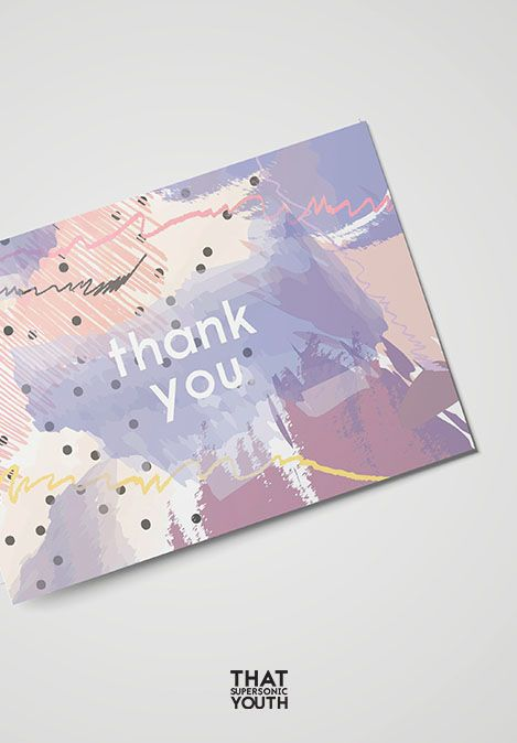 Printable Thank You Card, Personalized Wedding Thank You Note, Abstract, Watercolour Style, Place Setting Thank You, Instant Download