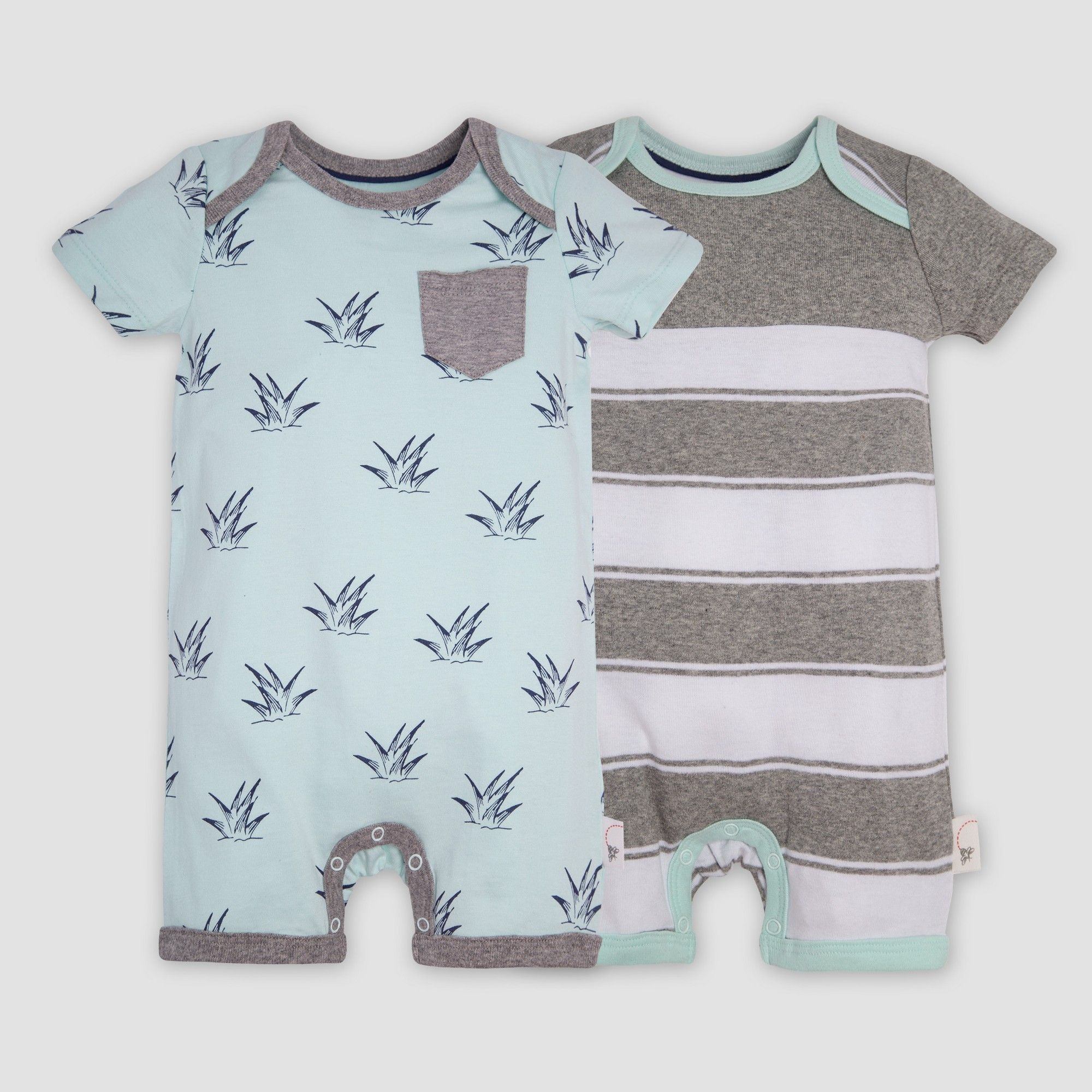 Burt/'s Bees Baby Boy 2 Piece Romper Set ~ Blue White /& Gray ~ Organic Cotton~
