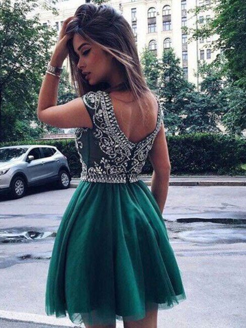 2017 Homecoming Dress Tulle Dark Green Short Prom Dress Party Dress ...
