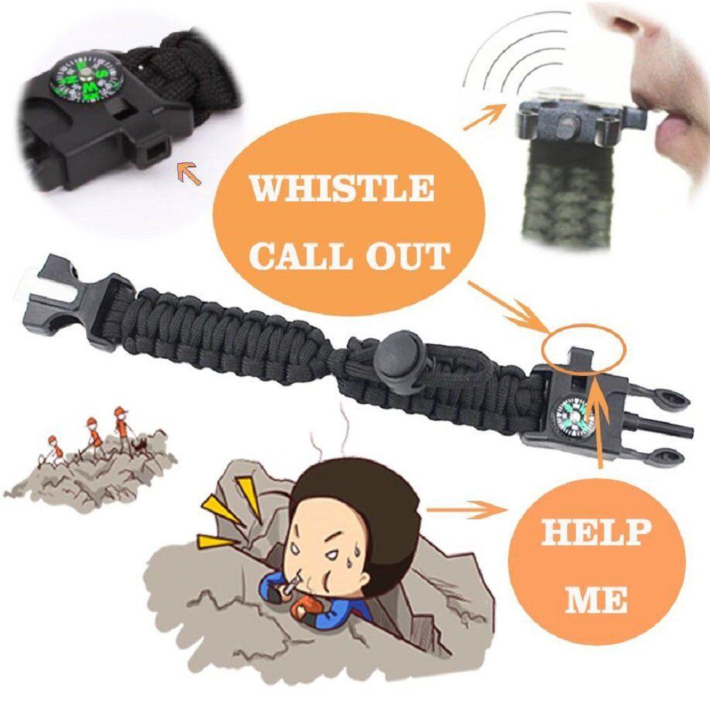 Adjustable Paracord Survival Bracelet No Buckle Sliding Knot