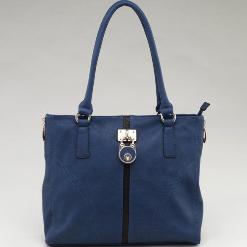 Designer Inspired Striped Fashion Tote Handbag w/ Lock Accent & Side Zip Decor Blue/Coffee
