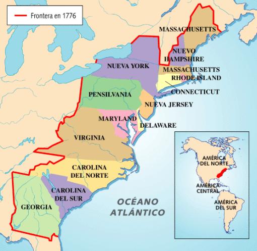 De Las Trece Colonias Inglesas - Mapa de united states