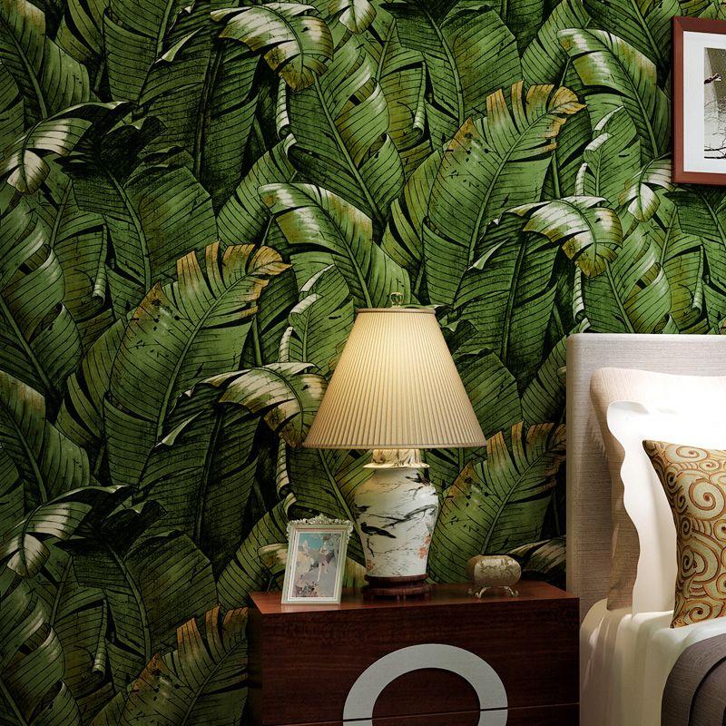 2016 southeast asian style green banana leaf wallpaper for Cheap wallpaper rolls