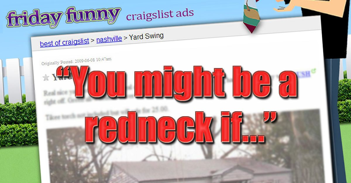 Funny Craigslist Ads Redneck Yard Swing Funny Craigslist Ads