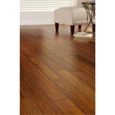Home Decorators Collection Hand Scraped Strand Woven Harvest 3 8 In T X 5 1 8 In W X 36 In L Engineered Click Bamboo Flooring Am1313e The Home Depot Bamboo Flooring Engineered Bamboo Flooring Flooring