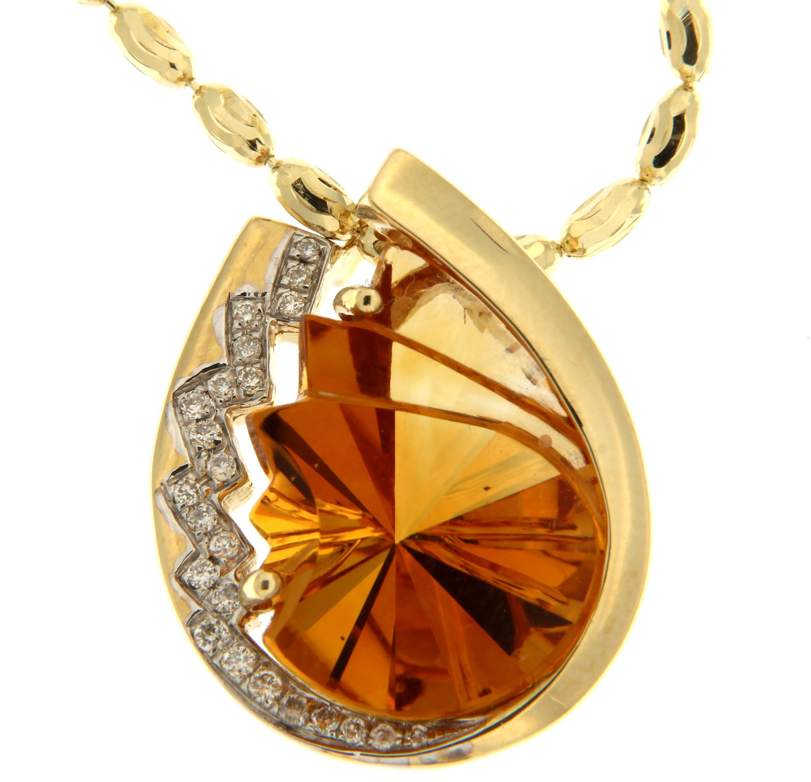 Citrine pendant set in yellow gold available at house of silva