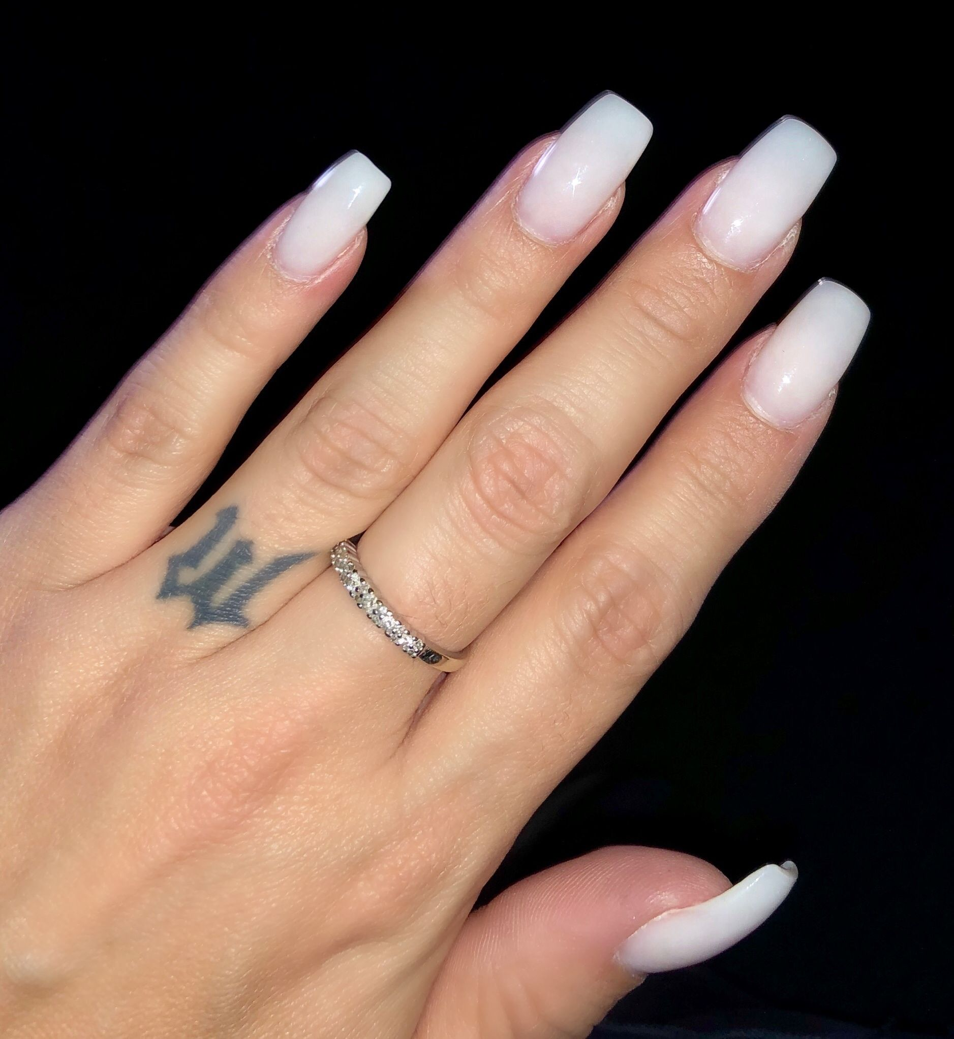 Pink to white acrylic ombré.. coffin style Ig