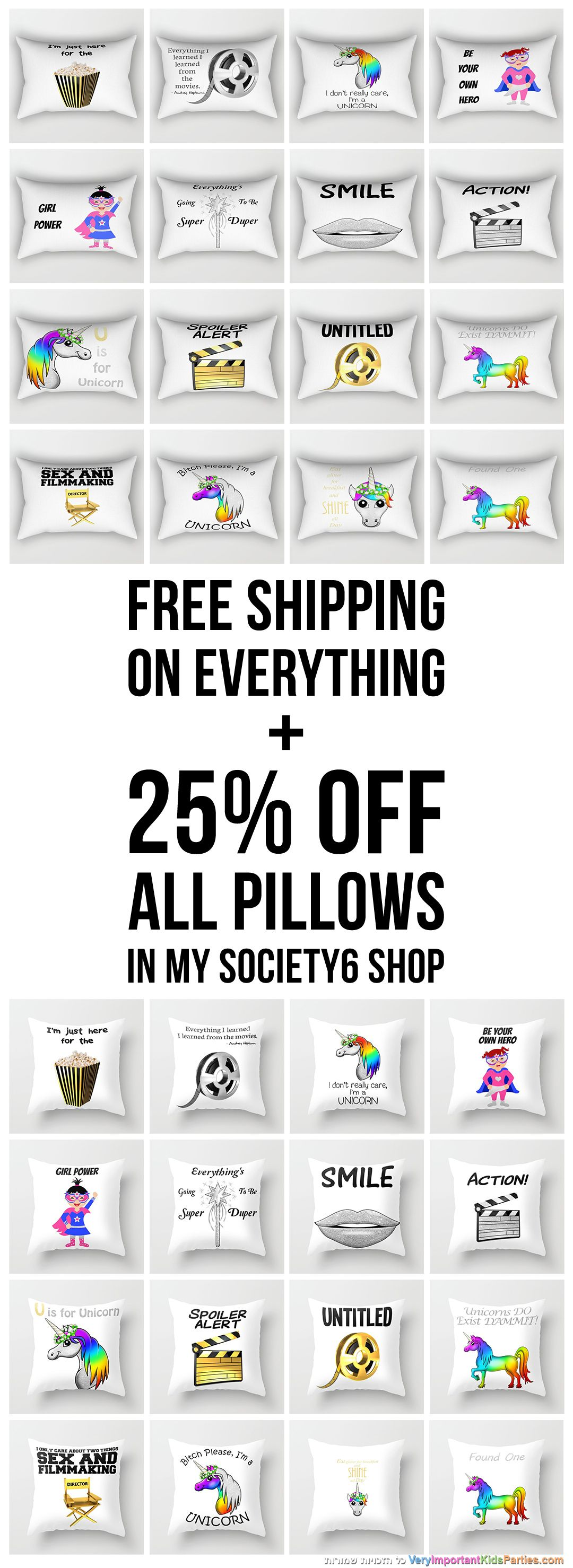 Free Shipping on everything + 25% off ALL PILLOWS! now the only need is to choose...
