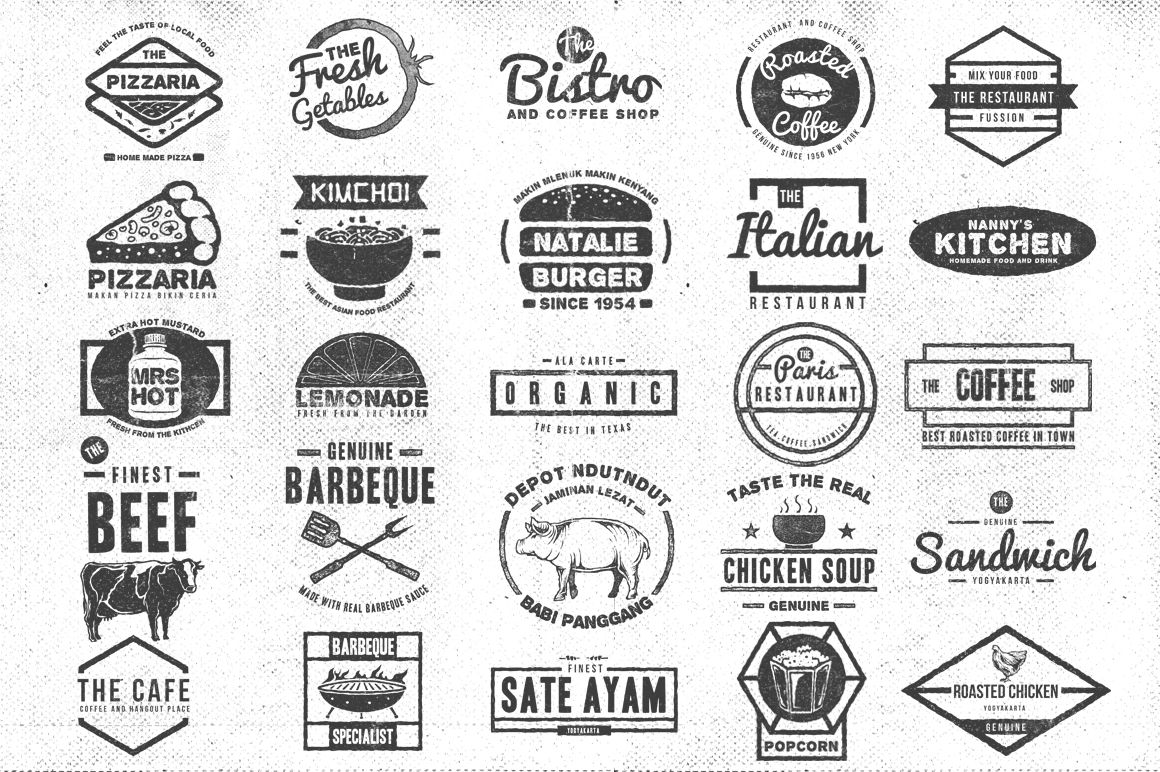50 Retro Food Logo Logo Food Food Logo Design Logo Bundle