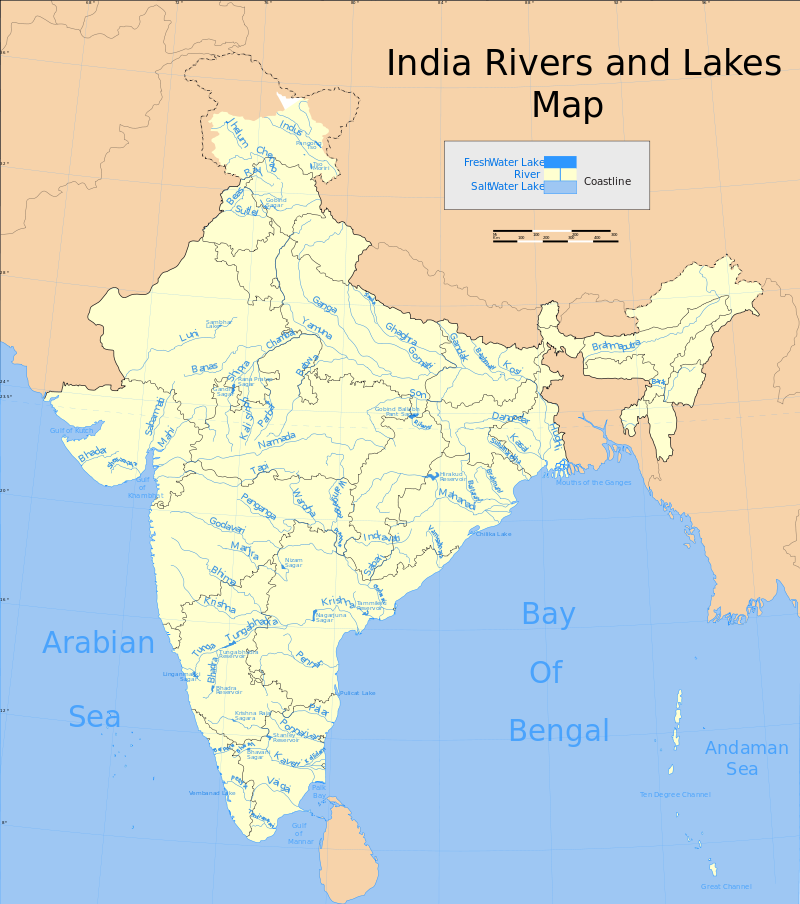 India rivers and lakes map List of major rivers of India