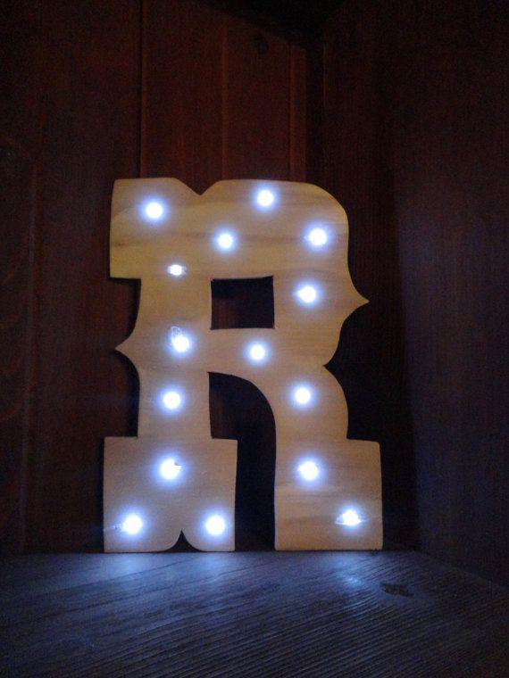Wooden Light Up Marquee Letter Western Font Wedding Room Decor Nursery Led Lights Battery No