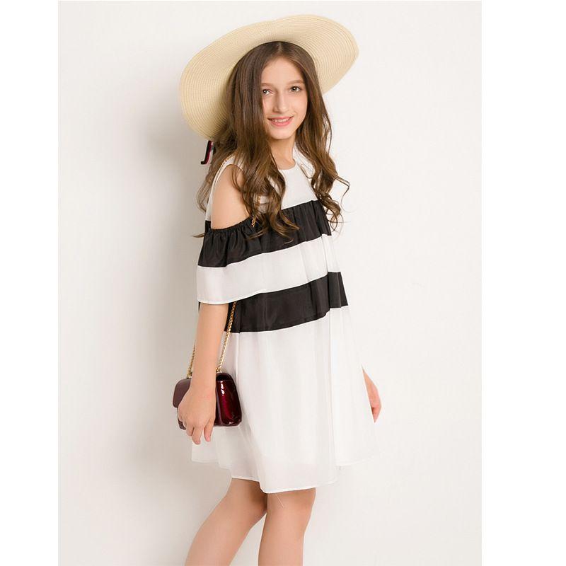 b23e09aa274 6 to 14 Years Teen Girls Off Shoulder Dress 2018 New Arrival Short Sleeve  Summer Dress