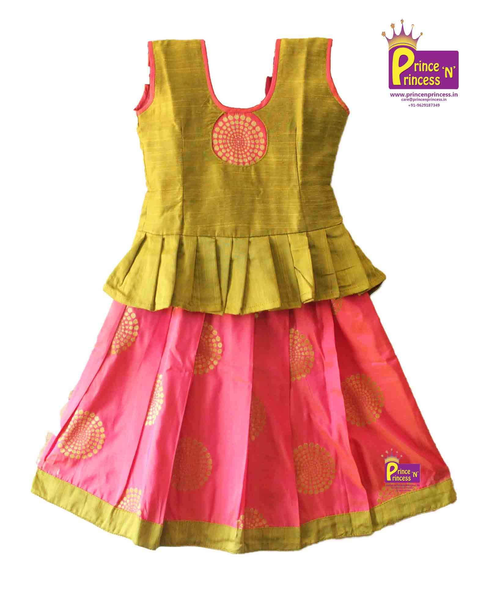 Designer Pink Green Frill Pavadai With Frills Grand Pavadai For Special Occasion Pattu Langa P Kids Blouse Designs Fancy Blouse Designs Kids Fashion Dress