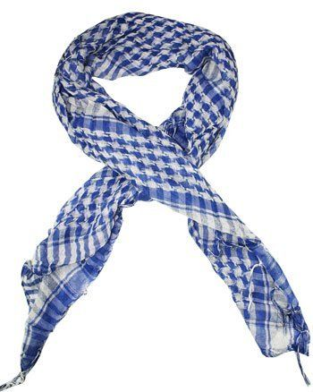Houndstooth Shemagh Keffiyeh Square Shawl, White and Blue by A.K. Trading. $8.99. UNISEX  Cool in the summer, and surprisingly warm in the winter. Shemagh Scarf (also known as Keffyeh) are a design classic and can make a simple outfit stand out from the crowd, a true wardrobe must have for any follower of fashion. Our Fashionable scarf can be worn in a variety of styles, the classic way is to, fold the scarf in half to make a triangle tie the ends loosely at the...