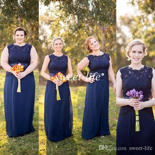 2016 Vintage Bridesmaid Dresses Blue Lace Top Cap Sleeves Crew ...