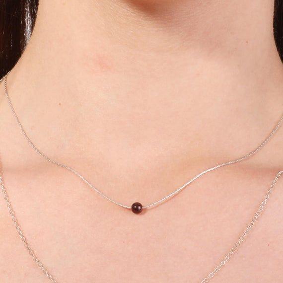 Photo of Garnet necklace, gold garnet necklace. Dainty necklace, tiny red garnet necklace in gold / sterling silver, minimalist, January birthstone