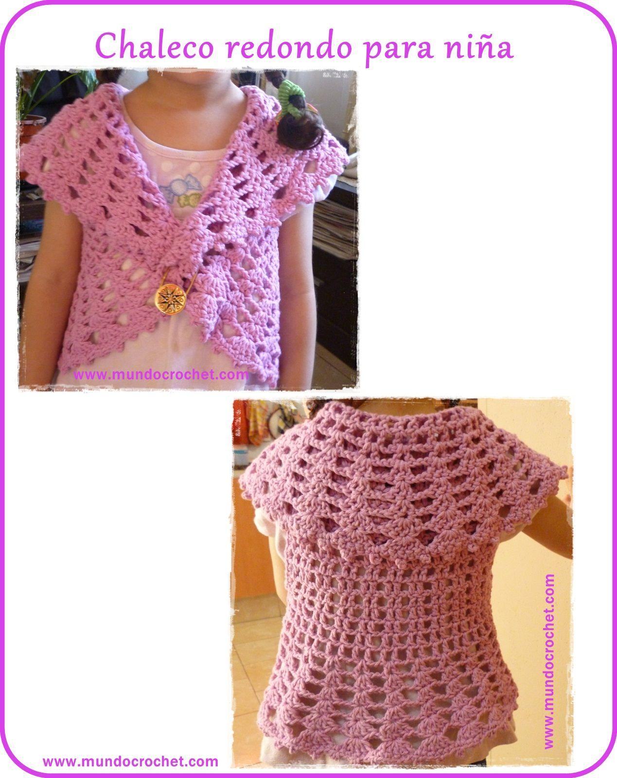 Chaleco redondo a crochet para niña: patrón y paso a paso   Patrones ...