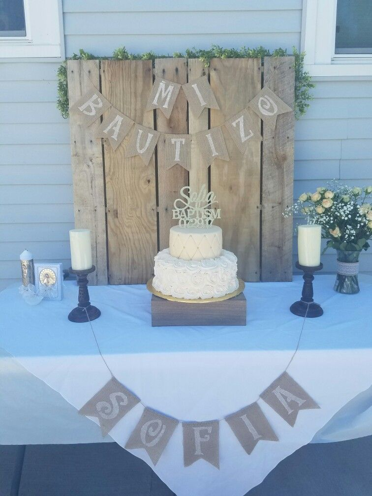 Shabby Chic Baptism Party Ideas With Images Baptism Decorations Boy