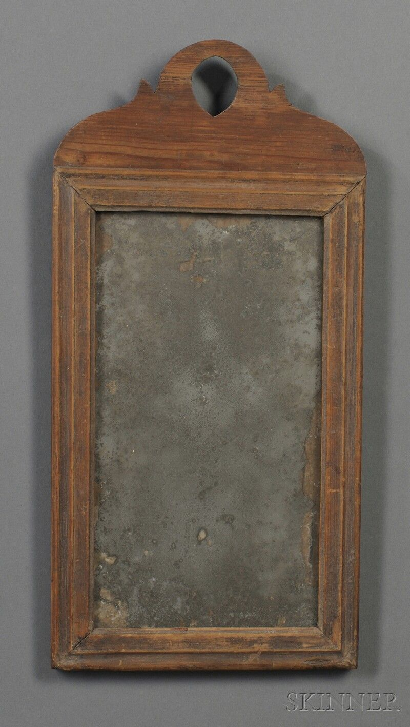 18th C Country Queen Anne Looking Glass With Grungy Surface Www