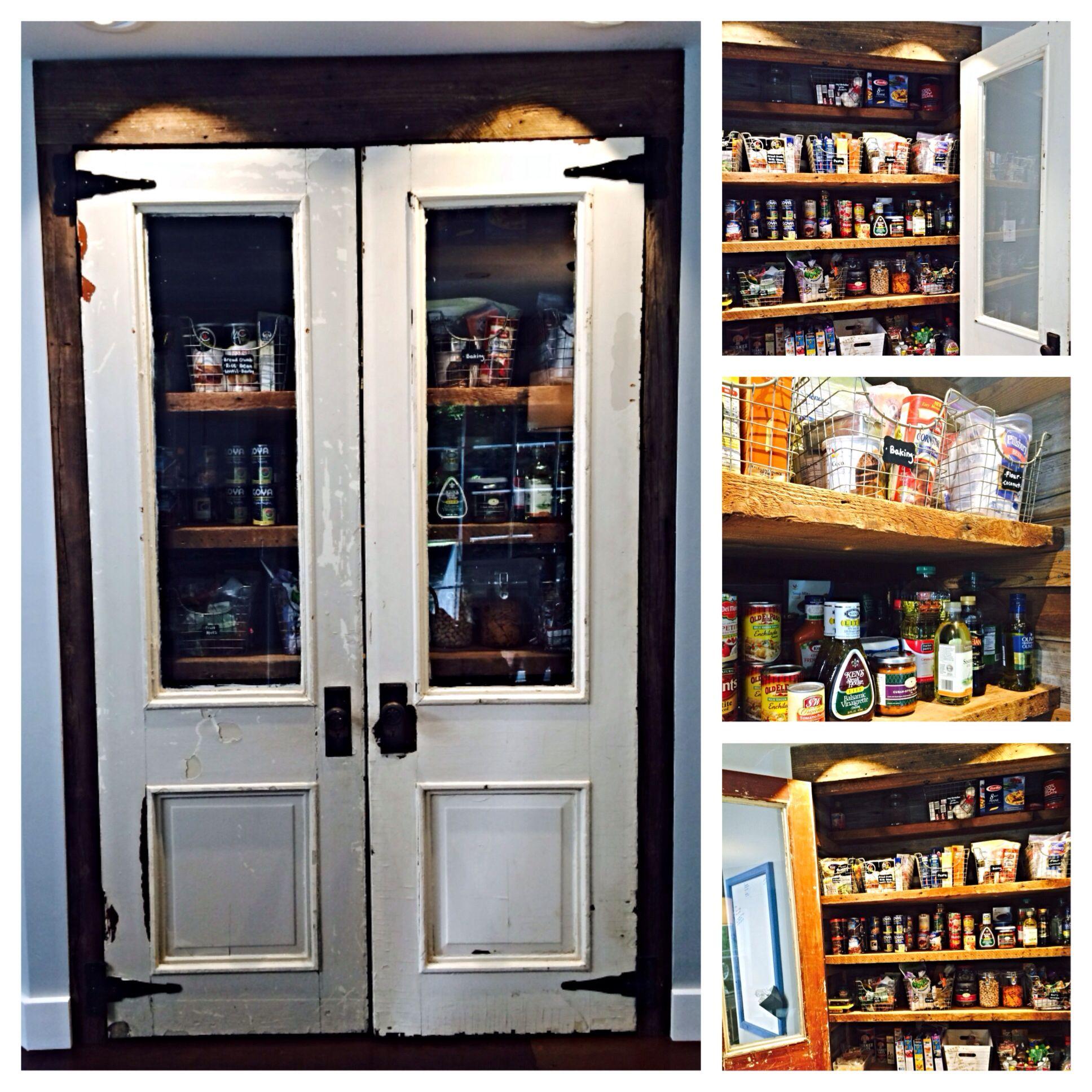I love my pantry. #pantry #reclaimedwood #antiquedoors #woodshelves #wirebaskets