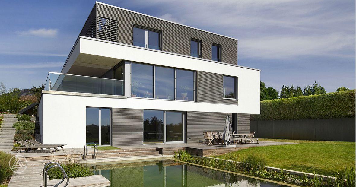 Bauhaus style Kieffer passivhaus in Luxembourg by Baufritz