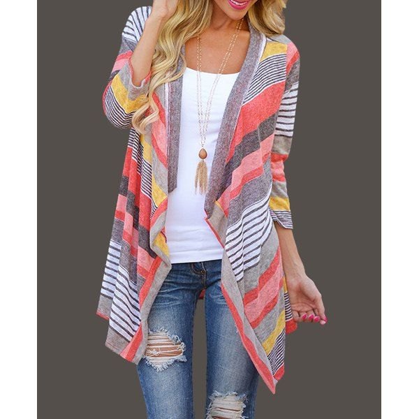 Cardigan Women Folk Style Colorful Geometric Loose Bat