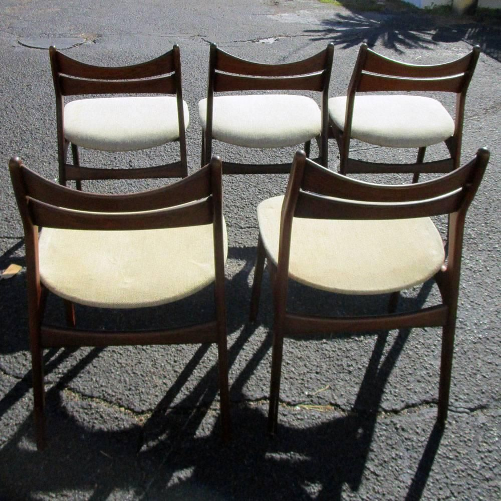 Pair of vintage danish rosewood and brushed steel side cabinets ref - Vintage Five Rosewood Danish Dining Chairs By Erik Buch