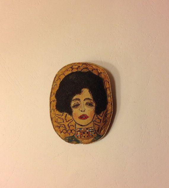 Hand painted brooch-Textile brooch-Gustav Klimt-Woman portrait-Gift brooch-Fabric brooch-Art brooch-Fashion brooch-Stylish brooch