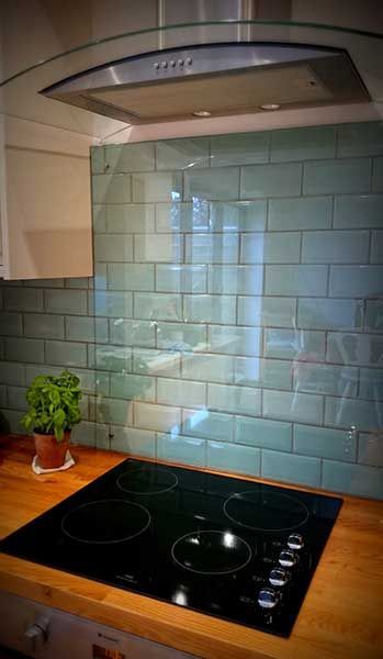 Kitchen Splash Back Over Duck Egg Blue Tiles With Cooker