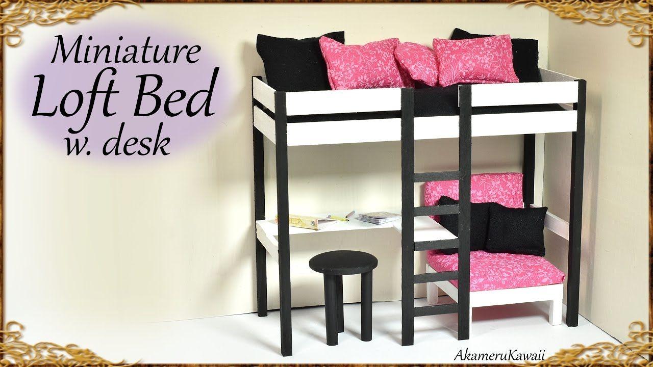 Twin loft bed craigslist  Cute Miniature Loft Bed  DIY Doll Craft Tutorial  miniatures
