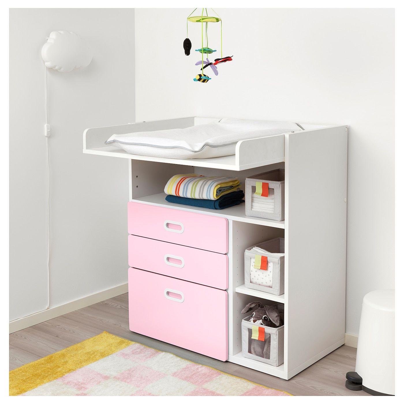 STUVA FRITIDS Cambiador con cajones, blanco, rosa claro