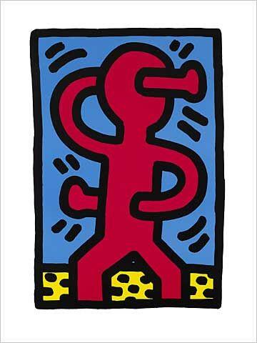 kunstdruck poster untitled 1987 von keith haring kunstunterricht malen und zeichnen. Black Bedroom Furniture Sets. Home Design Ideas
