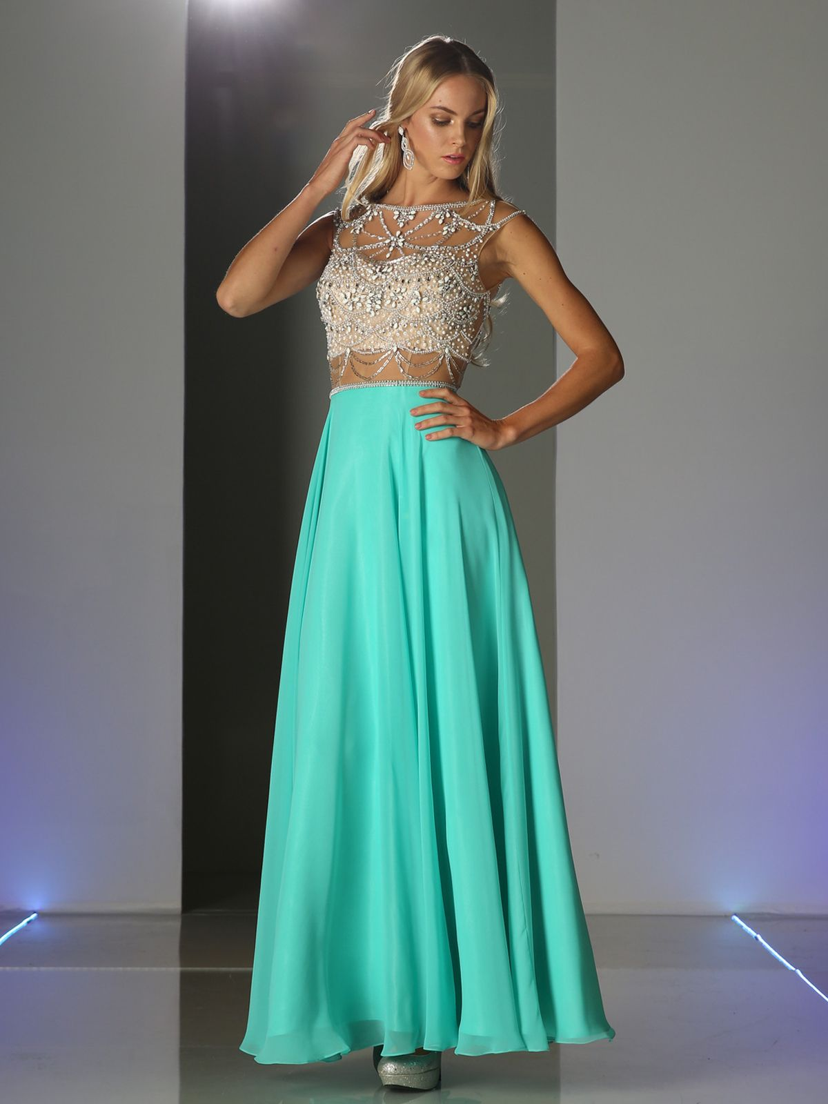 PC907 Mock Two Piece Prom Dress with Full Skirt - Mint, Front View ...