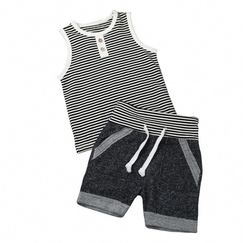 Toddler Baby Boy Clothes Outfits Summer Vest Top and Stripe Shorts Boy Clothing Set