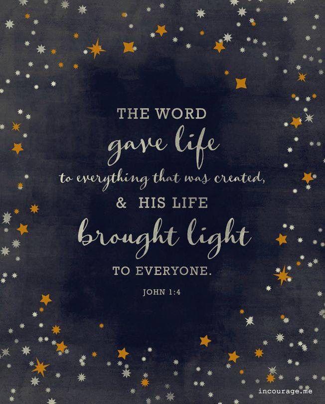 John 1:4 · Christmas Jesus QuotesChristmas Bible VersesInspirational ...