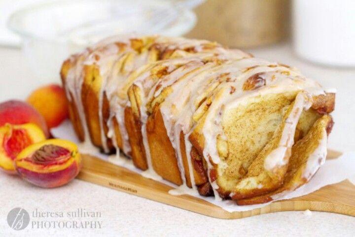 Peach cinnamon brown butter pull apart bread