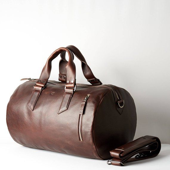 Dark Brown Leather Duffle Bag Men Small Shoulder Travel