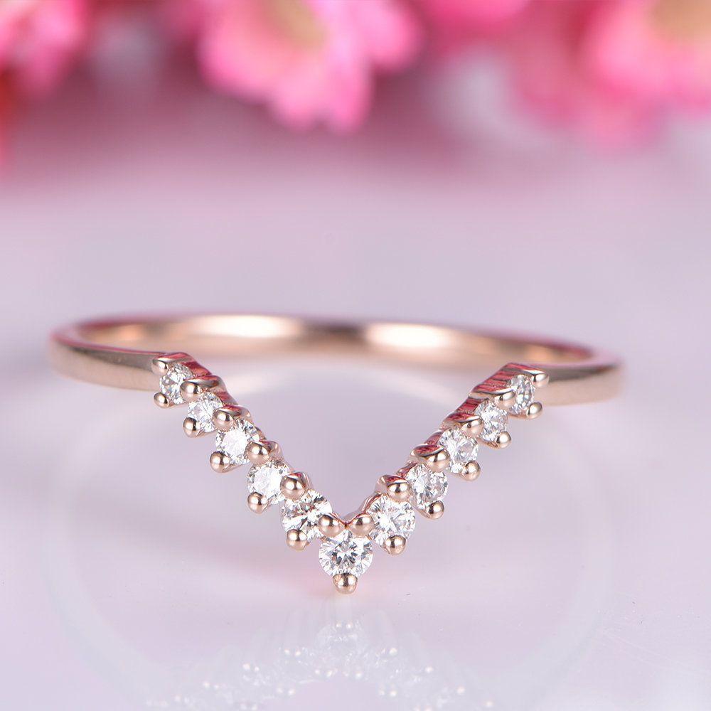 14k rose gold diamond wedding band v shaped diamond