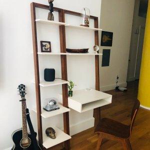 Ladder Shelf Desk Narrow Bookshelf Set In 2020 Narrow Bookshelf Shelves Ladder Shelf Desk