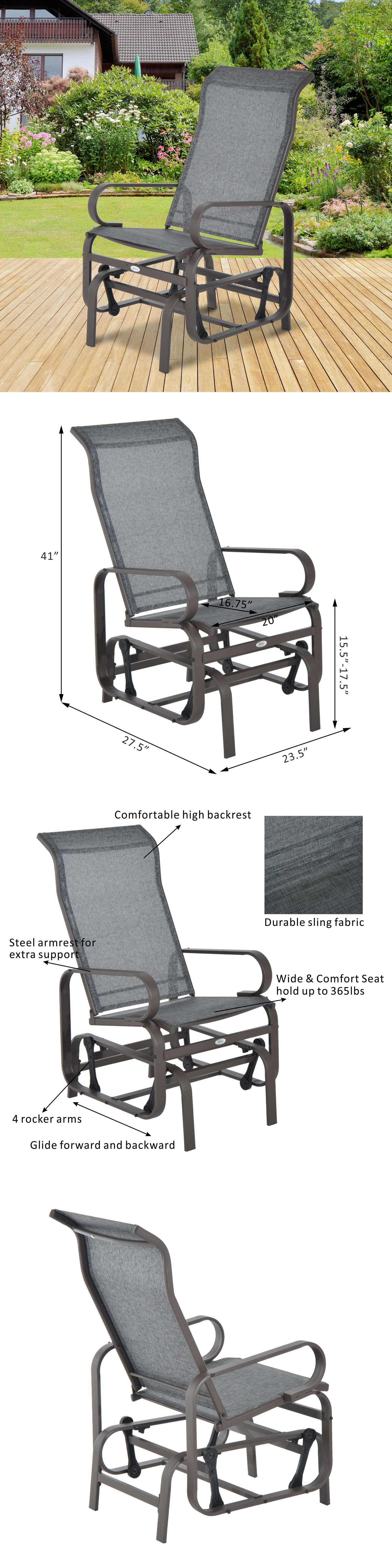 Swings Outsunny Glider Swing Chair Seat Lounger Porch