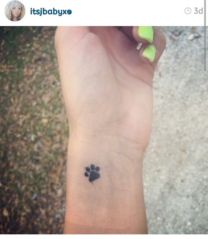 Paw Print On Her Radial Pulse In Memory Of Her Dog Cute Foot Tattoos Small Dog Tattoos Tattoos For Women