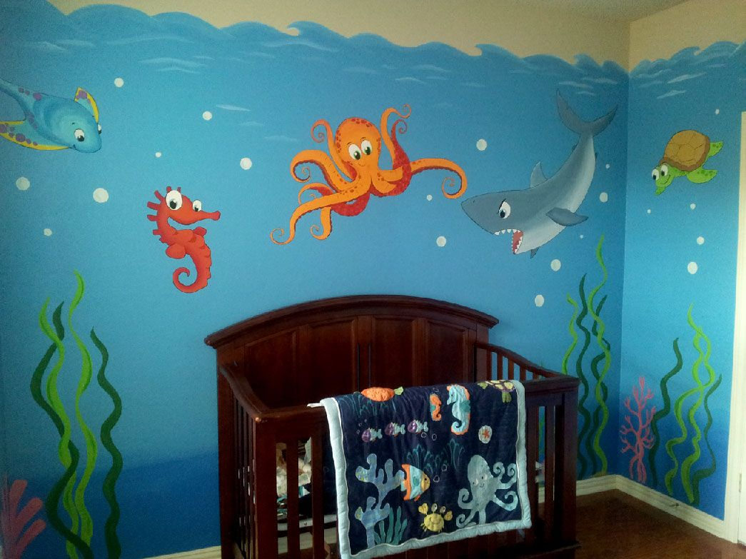 Underwater mural kids rooms pinterest underwater for Underwater mural ideas