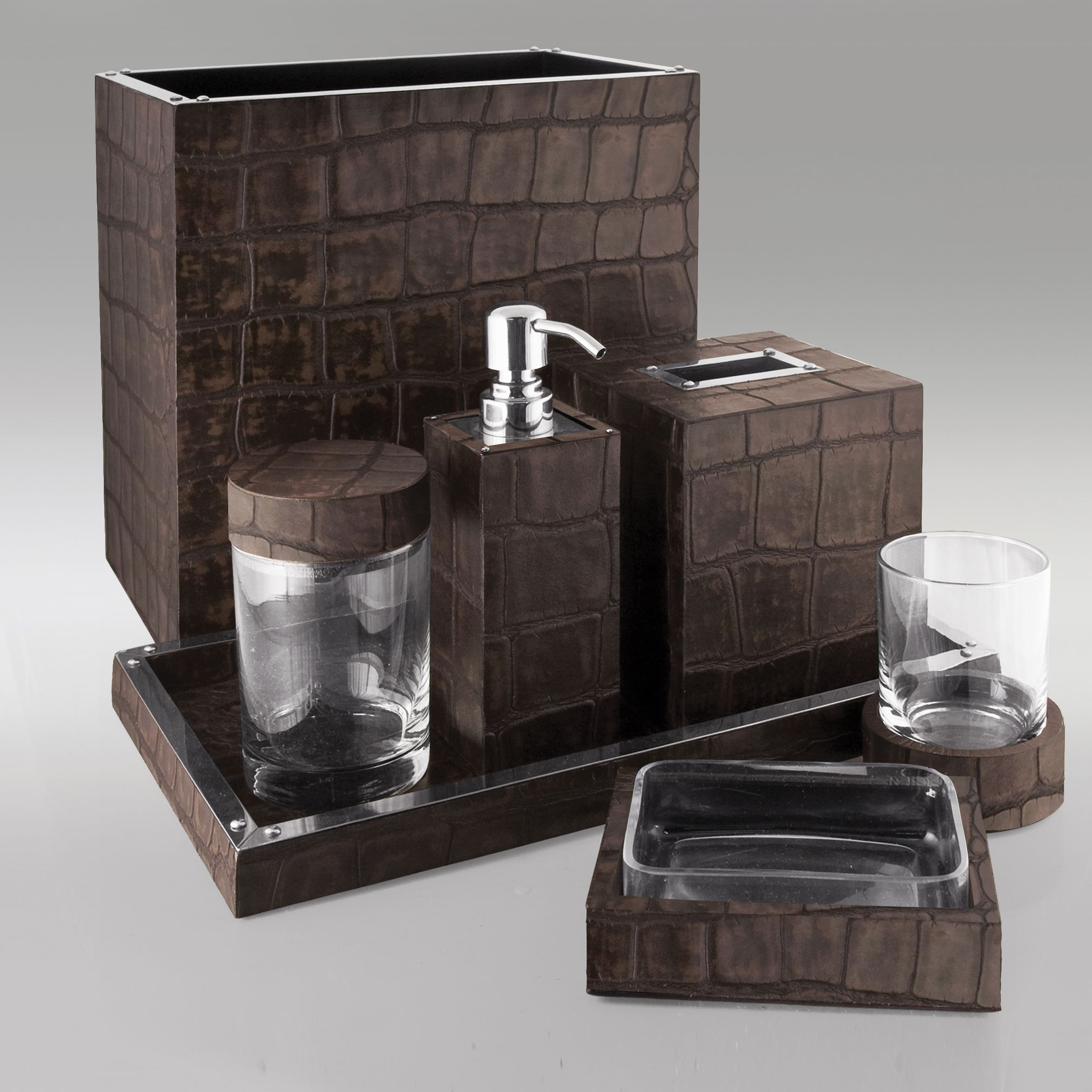 Dark Brown Alligator Embossed Leather Bath By Gail Deloach With
