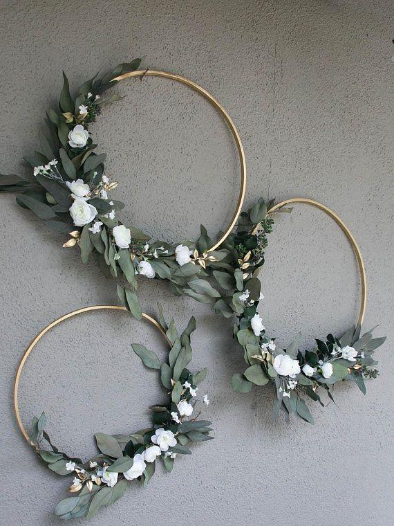 Hochzeit Reifen mit viel Grün und Blumen Brautdusche Dekor Baby-Dusche Hintergrund Foto Hintergrund Blumenkranz großen Holzkorb zum Dekorieren - Hochzeitskleid #brautblume