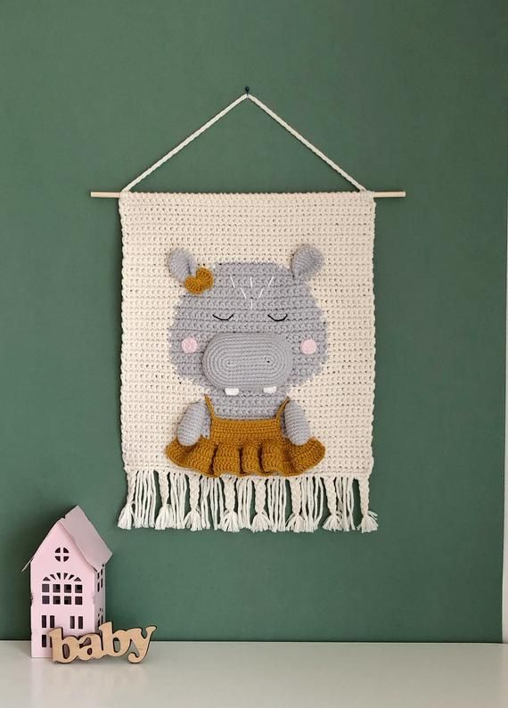 Nursery wall hanging with hippo. Safari wall decor. Cute | Etsy