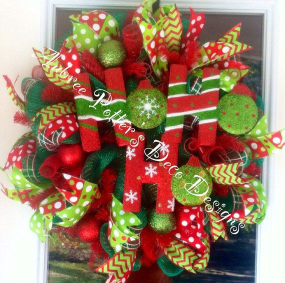 Merry Christmas Ho Ho Ho Deco Mesh Wreath with Ornaments