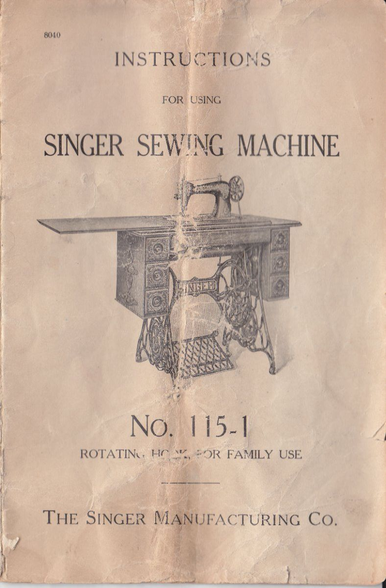 1912 Singer 115 Sewing Machine & Attachments Instruction Manual, PDF copy  on CD. Most Singer 115s have either the Memphis (Sphinx) Decals or lovely  pastel ...