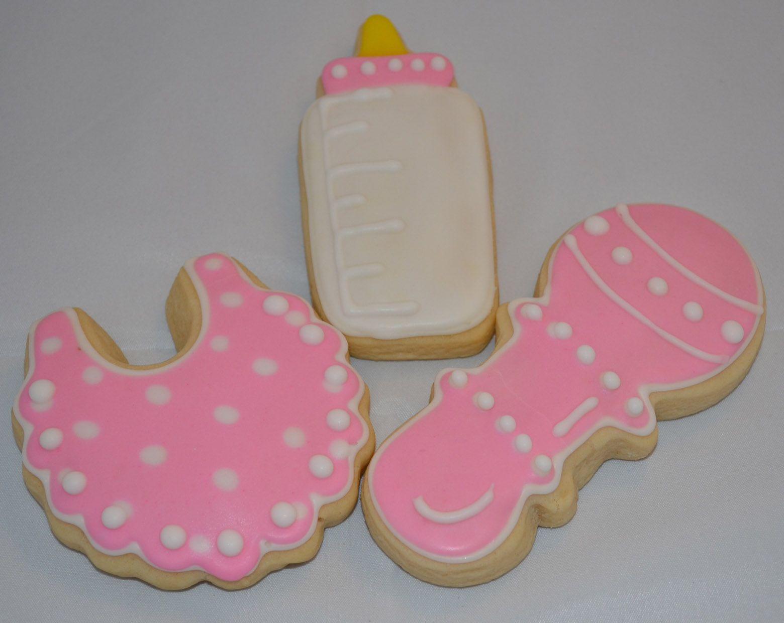 Baby Girl Cookie, bib, bottle, rattle